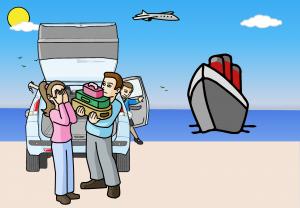 rear of car ferry sea sky